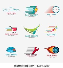 Set of Fast Logo Template Design. Vector illustration