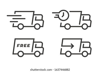 Set of Fast Shipping Truck . Flat Icon Design