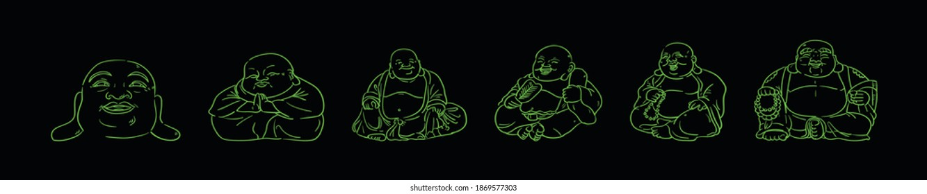 set of fat buddha cartoon design template with various models. modern vector illustration isolated on background