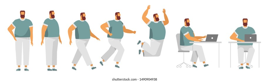 Set of fat man in different poses. Male character for your design project, animation. Vector trendy illustration, flat design. White background, isolated. Boy walk, stand, run, jump, sit