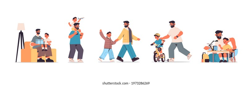 set father spending time with little son parenting fatherhood friendly family concept dad having fun with his kid