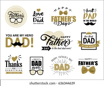 Set of father's day design elements
