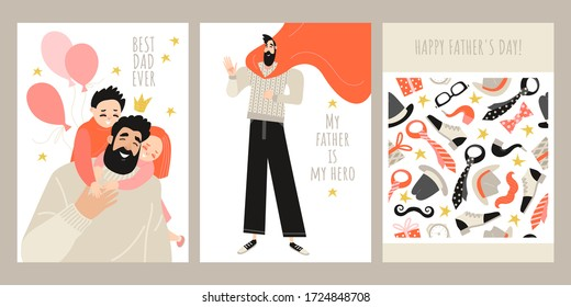 Set of fathers day greeting card templates with cute characters of daddy with children, dad-superhero and seamless texture from men's accessories and gifts. Vector illustration in a flat style.