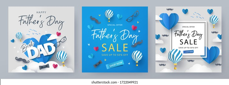 Set of Father's Day greeting cards in modern paper cut style. Fathers Day holiday illustration for greeting banner, fashion ads, poster, flyer, social media, promotion and sale