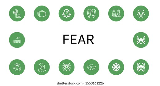 Set of fear icons. Such as Widower, Pumpkin, Haunted house, Fins, Spider, Ghost, Executioner, Tarantula, Shark, Spider web, Black widow , fear icons