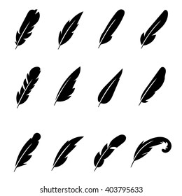 Set of feather black icons. Pen drawing, bird, silhouette. Vector illustration