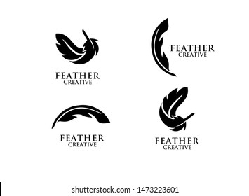 set of feather black logo icon design vector illustration symbol