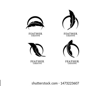 set of feather black logo icon design vector illustration symbol