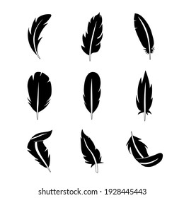 Set of feather flat icon. Pictogram for web. Line stroke. Isolated on white background. Vector eps10
