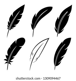 Set feather icon sign – stock vector