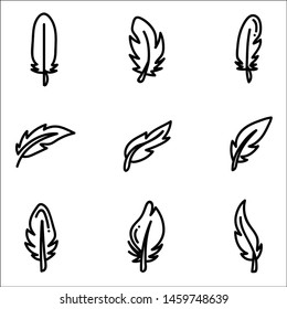 Set of feather on white background.