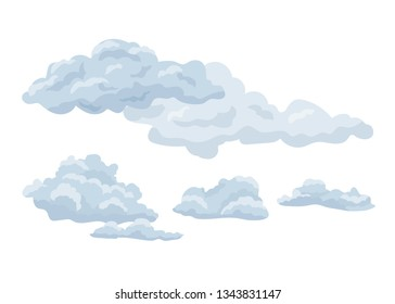 Set of feather steam clouds. Wavy, sparse cumulus and layer clouds against a sky background, floating in the direction of the wind. Detailed natural steam texture. Vector illustration isolated.