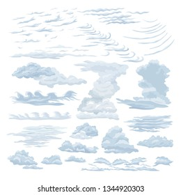 Set of feather steam clouds. Wavy, sparse cumulus, cirrus clouds against a sky background, floating in the direction of the wind. Detailed natural steam texture, cartoon vapour vector illustration.
