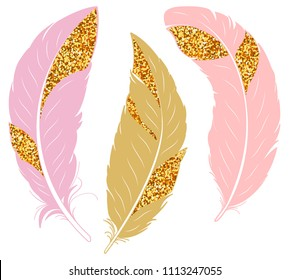Set of feathers. Pink and gold glitter feathers. Vector hand drawn illustration.