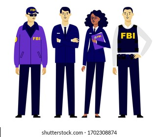 Set of federal agents characters in trendy flat style. Group of policemen, FBI agent or inspector. Federal bureau of investigation team, detection of violations. Different young officers men and women