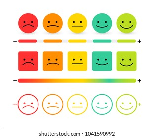 Set of feedback concept design, emotions scale background and banner. Smile Icon vector illustration. Isolated on white background