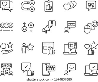 set of feedback icons, research, comment, review, customer, survey, social media