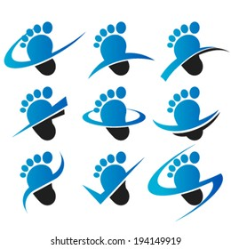Set of feet logo icons with swoosh graphic elements