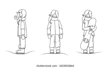 Set of female active sport characters. Young woman snowboard rider in winter special mountaneering wear holding snow board in her hands. Extreme sports funny cute cartoon person hand drawn line art.