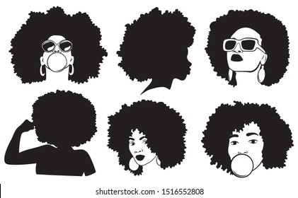 Set of female afro hairstyles for girls. Сollection of silhouettes of women in glasses with a haircut. Black and white vector illustration for a hairdresser.