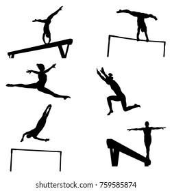 set female athletes gymnasts in artistic gymnastics silhouette