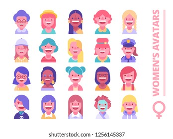 Set of female avatars. Different skin tones, clothes and hair styles. Modern and simple flat cartoon style. See also male parts.