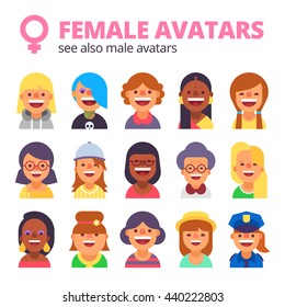 Set of female avatars. Different skin tones, clothes and hair styles. Modern and simple flat cartoon style.