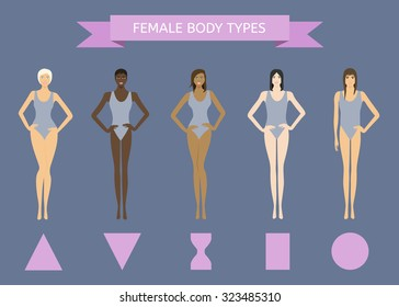 Set of Female Body Shape Types: Triangle, Inverted Triangle, Hourglass, Rectangle, Round.