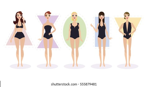 Set of female body shape types - triangle / pear, hourglass, apple / rounded, Inverted triangle, rectangle. Vector illustration.