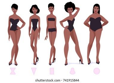 Set of female body shape types - five types. African american women. Vector cartoon illustration.
