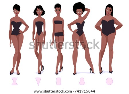 32abac87ff Set of female body shape types - five types. African american women. Vector  cartoon