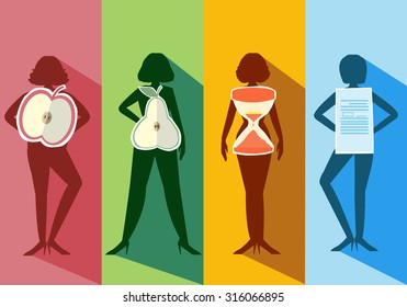 Set of female body shape Types,vector illustrations