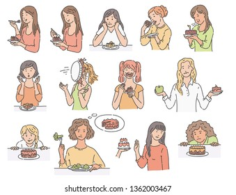 Set of female characters with dessert cake sketch style, vector illustration isolated on white background. Women with various emotions about eating unhealthy food in different situations