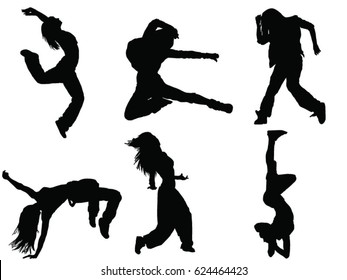 Set of female dancer silhouette