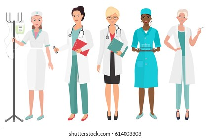 Set of female doctors in different poses. Woman doctor nurse. Vector illustration.