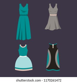 Set of female dresses on a dark background. Flat design vector