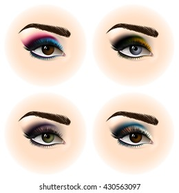 Set of female eye with makeup. Beautiful eyes. Vector illustration