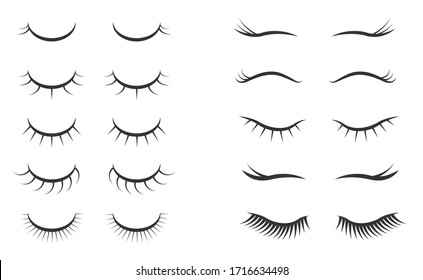 Set of female eyelashes. Black and white illustration of closed eyes. Silhouette drawing