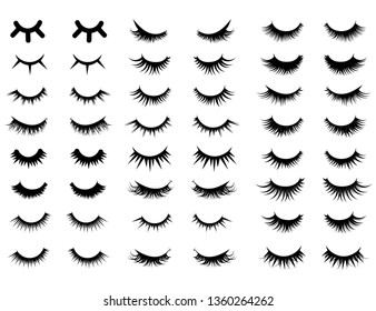 Set of female eyelashes. Collection of false eyelashes. Black and white illustration of closed eyes. Bottled eyelashes of girls. Female makeup. Silhouette drawing.