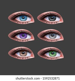 Set of female eyes for health glamour design. Blue, green and brown colors. open woman eyes. Vector EPS 10 illustration in realistic style