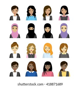 Set female faces  of different races, vector illustration