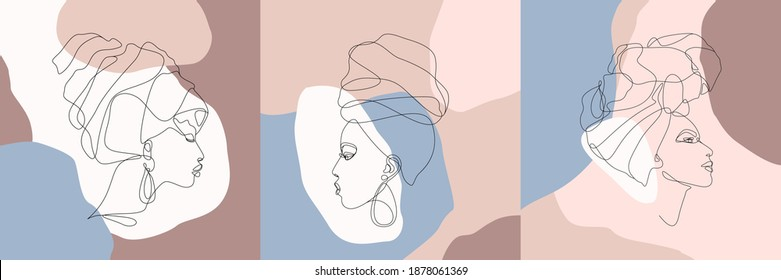 Set of female faces in turban continuous line art. Abstract modern collage of geometric shapes in a modern trendy style. Vector illustration. Portrait of a woman. Print for t-shirt, postcard, poster.