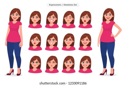 Set of female facial expression. Collection of girl / woman's emotions. Concept illustration in vector cartoon style.