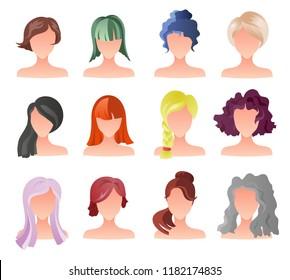Set of female hair style sprites. Vector game design for app. Vector girl avatars