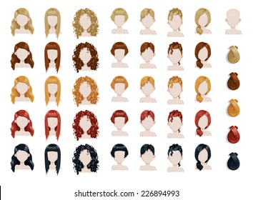 Set of female hair style sprites. Vector game design for app