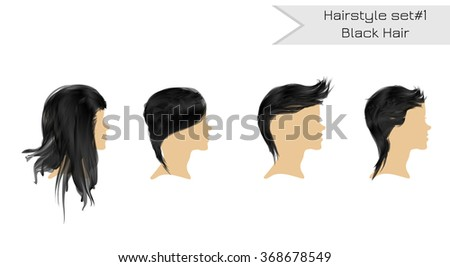 set female hairstyles profile black hair stock vector royalty free