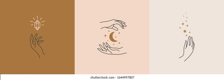 A set of female hand logos in a minimal linear style. Vector logo design Templates with different hand gestures, moon, stars and Crystal. For cosmetics, beauty, tattoo, Spa, manicure, jewelry store