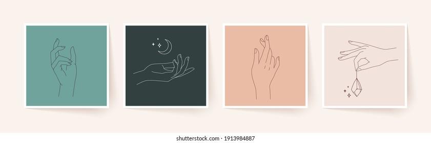 Set of female hands in minimal linear style. Modern single line art. Vector illustration.