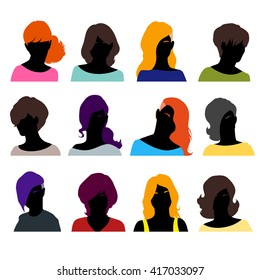 Set of female heads isolated on a white background. Women's faces in a flat style. Female avatars with different hairstyles. Vector illustration.