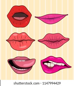 A set of female lips depicting different emotions. Illustration for t-shirt, clothing, printing, postcards...